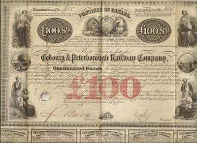 Cobourg Ptereborough Railway bond