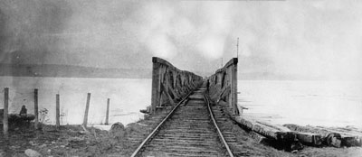 Rice Lake Bridge - probably taken after being damaged.